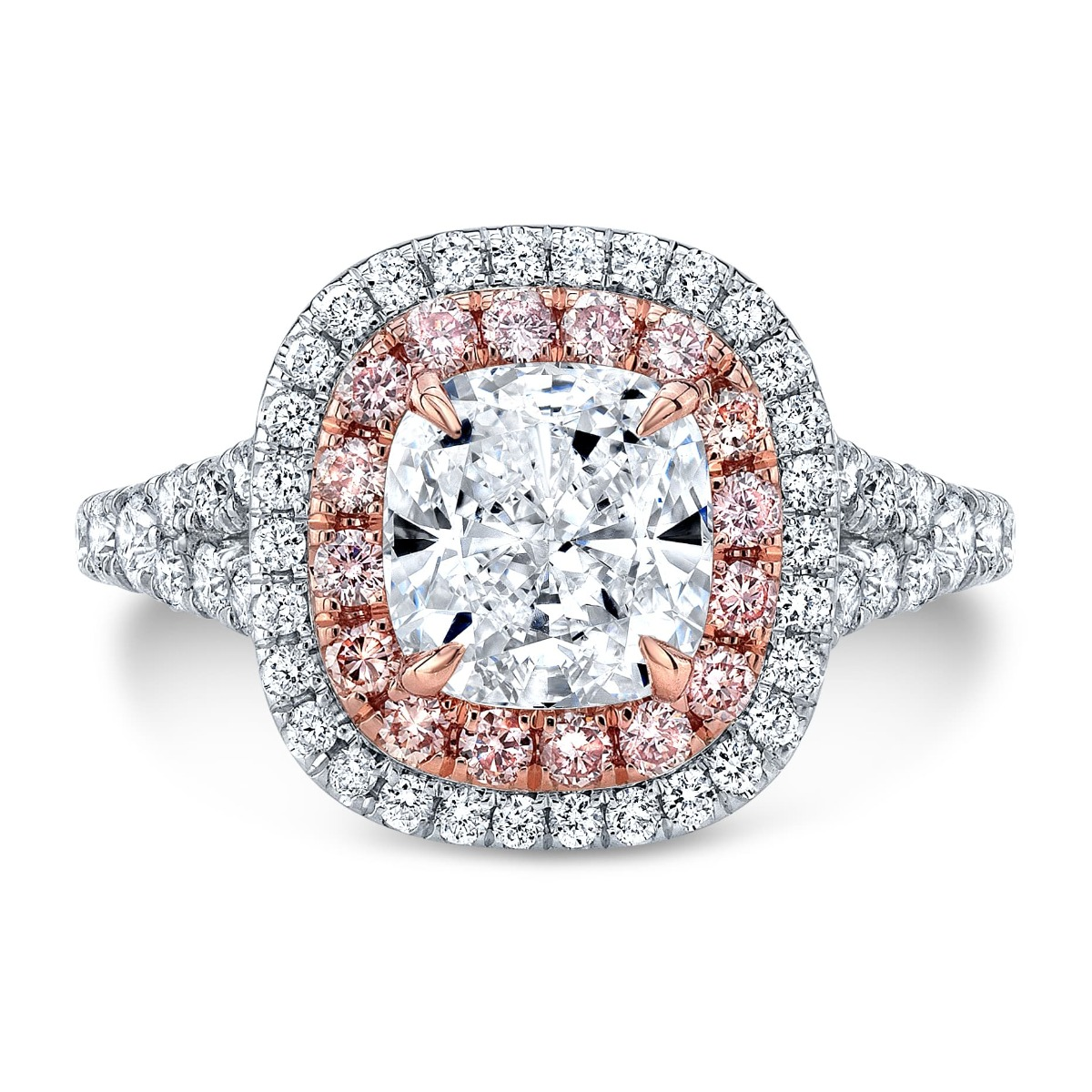 Unique Double Halo Cushion Engagement Ring With Pink Diamonds