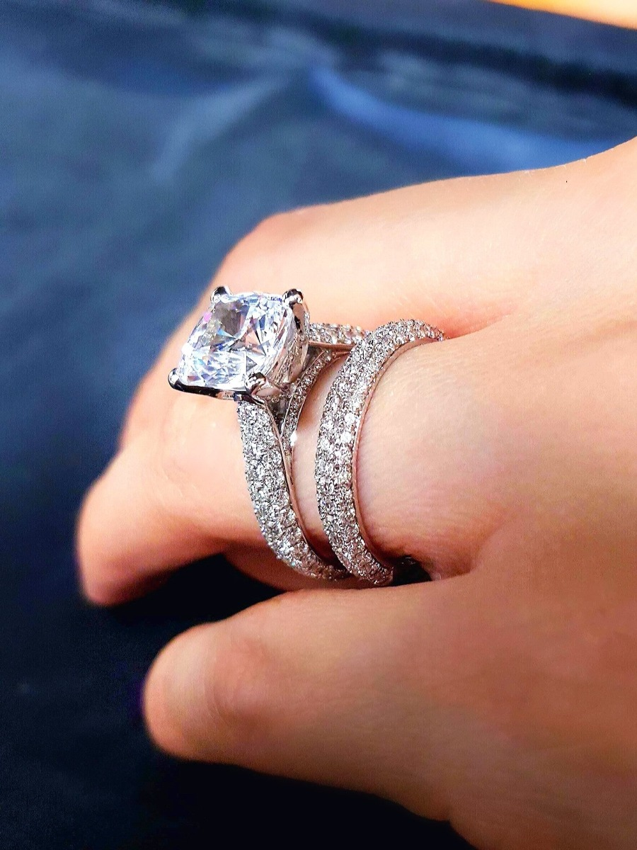 Unique Engagement Ring Set On a Hand