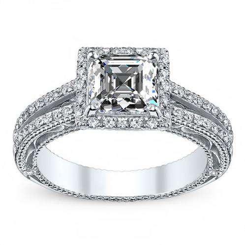Verragio Venetian Split Shank Halo Vintage Engagement Ring
