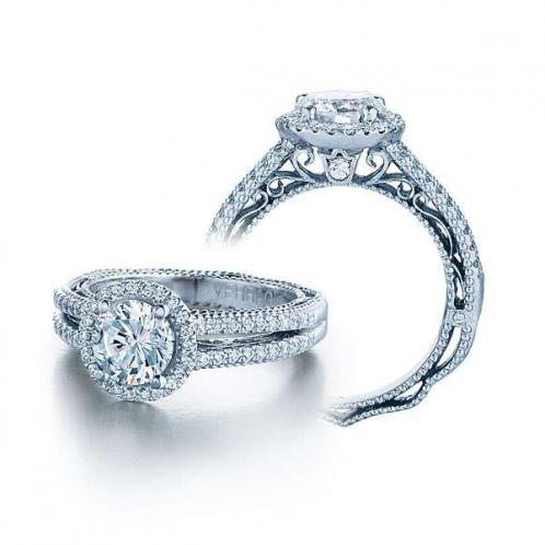Venetian Style Halo Split Shank Verragio Engagement Ring