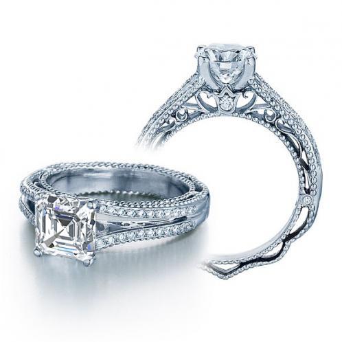 Verragio Venetian Pave Split Shank Vintage Engagement Ring