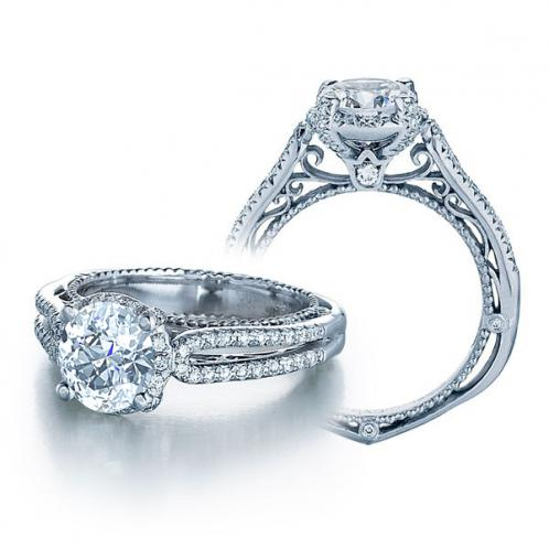 Venetian Designer Verragio Filigree Diamond Engagement Ring