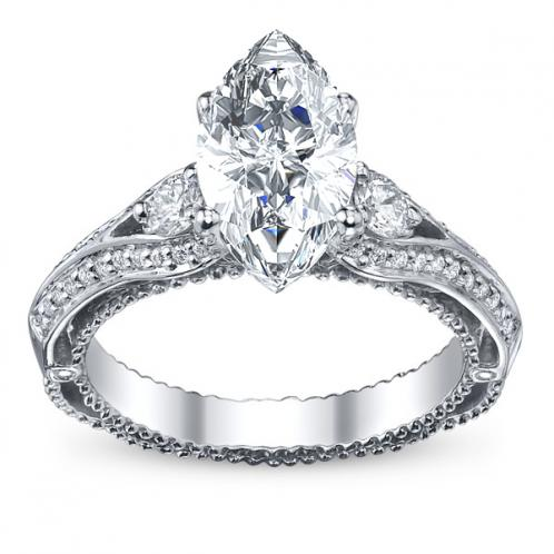 Pave Verragio Venetian 3-Stone Diamond Engagement Ring