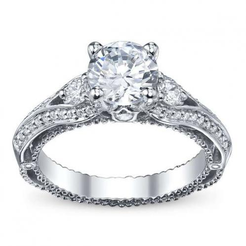 Pave Verragio Venetian 3-Stone Diamond Engagement Ring