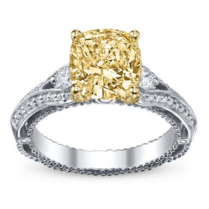 100ct yellow diamond cushion cut pave verragio venetian 3 stone diamond engagement ring 14k white gold gia - Yellow Diamond Wedding Rings