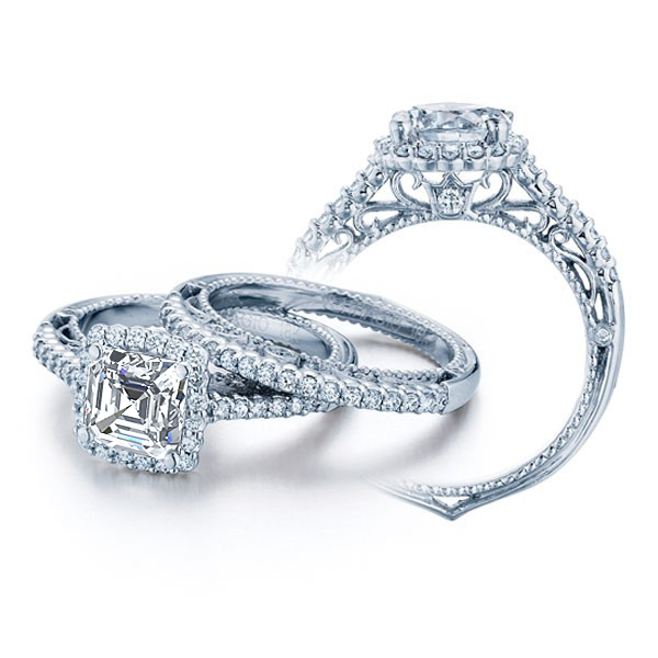 Designer Pave Halo Verragio venetian Engagement Diamond Ring