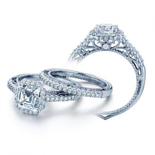 Venetian Verragio Pave Halo Designer Diamond Engagement Ring