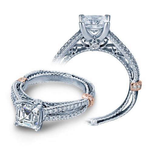 Pave Prong Vintage Verragio Venetian Engagement Ring