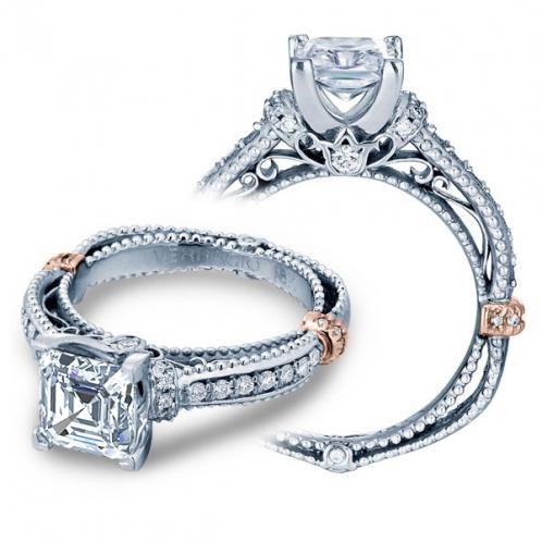 Sidestones Vintage Filigree Verragio Diamond Engagement Ring