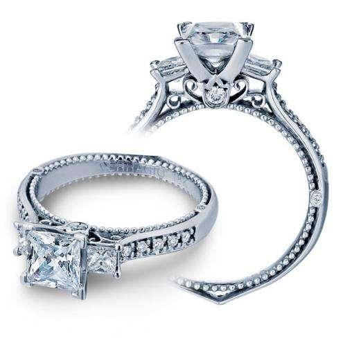 Vintage 3-Stone Designer Diamond Verragio Engagement Ring