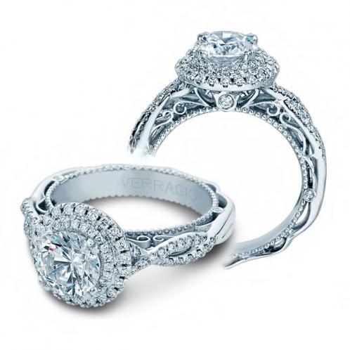Double Halo Verragio Designer Natural Diamond Engagement Ring