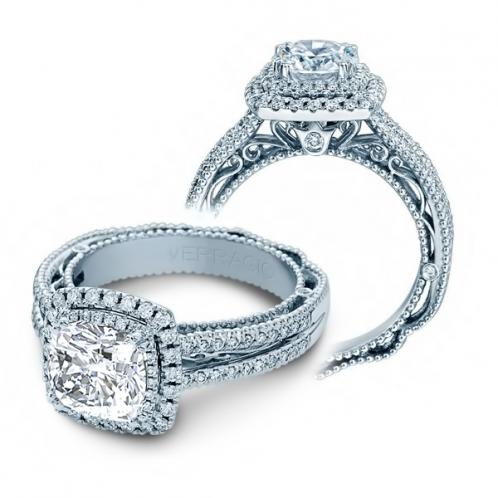 Pave Double Halo Venetian Natural Diamond Engagement Ring