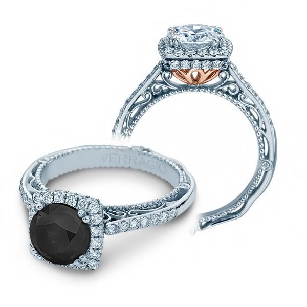 Halo Verragio Venetian Two-tone Natural Diamond Engagement Ring