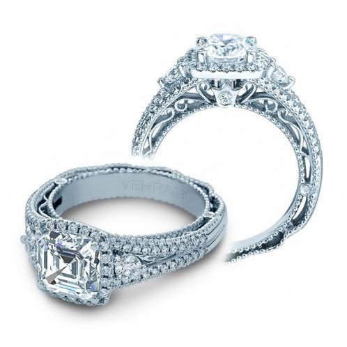 Halo 3-Stone Verragio Designer Natural Diamond Engagement Ring