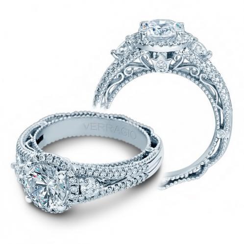 3-Stone Halo Vintage Verragio Designer Natural Diamond Engagement Ring
