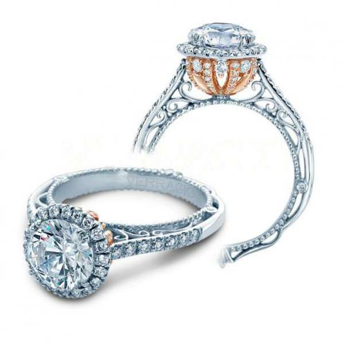 Verragio Venetian Halo Two-tone Natural Diamond Engagement Ring