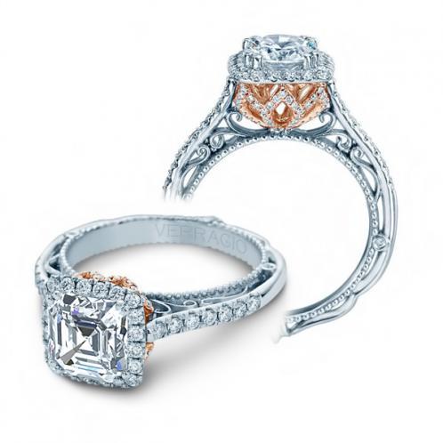 Verragio Venetian Halo Filigree Natural Diamond Engagement Ring