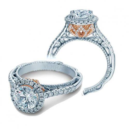 Verragio Side Profile Halo Designer Natural Diamond Engagement Ring