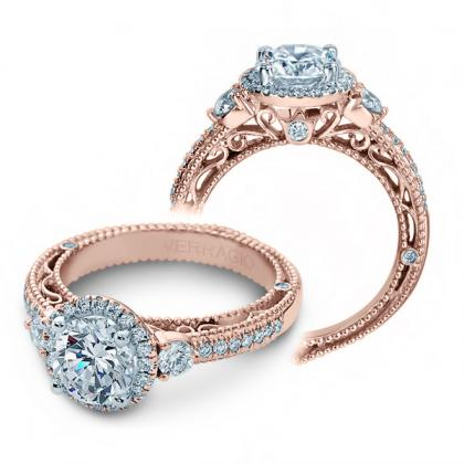 Filigree Rose Gold Engagement Rings