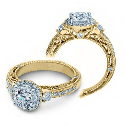 Filigree Yellow Gold Engagement Rings
