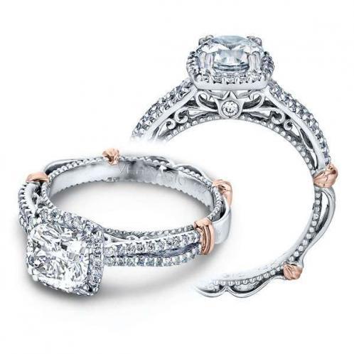 Verragio Parisian Halo Split Shank Filigree Designer Engagement Ring