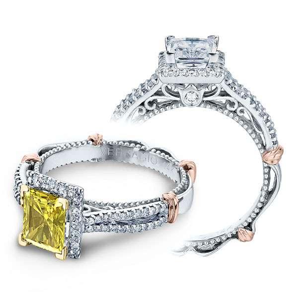 Verragio Parisian Pave Halo Split Shank Designer Engagement Ring