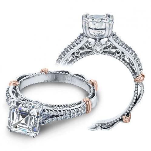 Verragio Parisian Filigree Pave Split Shank Designer Engagement Ring