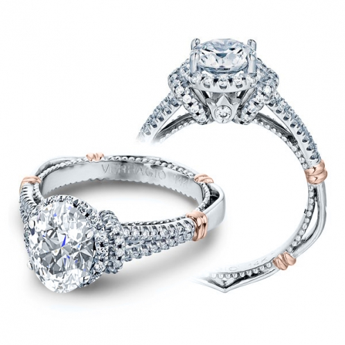Verragio Parisian Side Profile Halo Pave Designer Engagement Ring