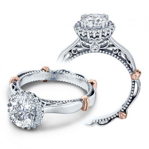 Verragio Parisian Filigree Halo Pave Designer Engagement Ring