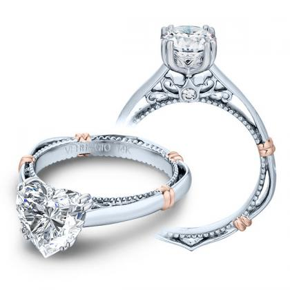 Two Tone Heart Shape Engagement Rings