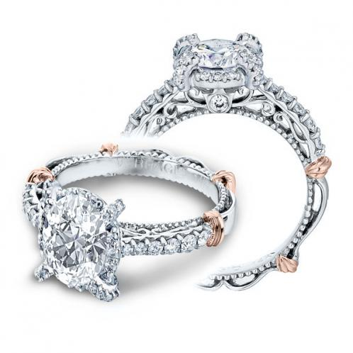 Verragio Parisian Halo Prong Pave Designer Engagement Ring