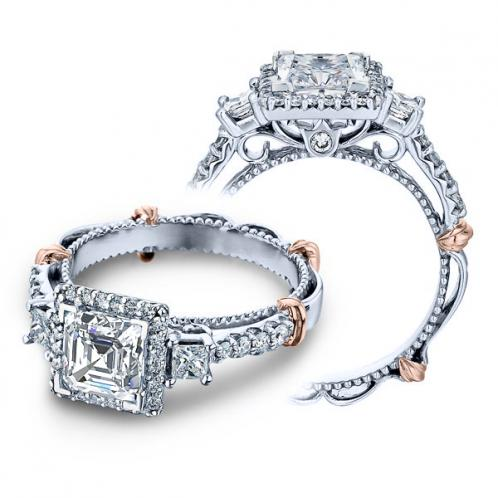 Verragio Parisian Halo Three Stone Designer Engagement Ring