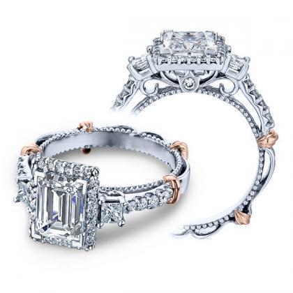 1.00ct. natural diamond emerald cut verragio parisian halo three stone designer  engagement ring 14k white gold gia
