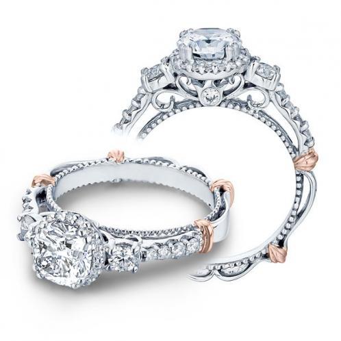 Verragio Parisian Three Stone Halo Designer Engagement Ring