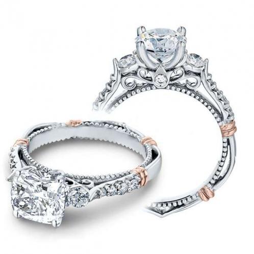 Verragio Parisian Three Stone Pave Designer Engagement Ring