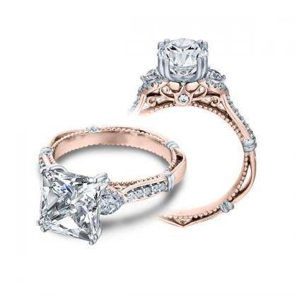 1.00ct. natural diamond princess cut verragio parisian three stone pave  designer engagement ring 14k rose gold gia