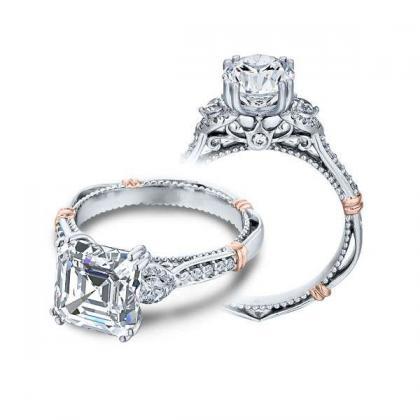 Pattern Asscher cut Engagement Rings