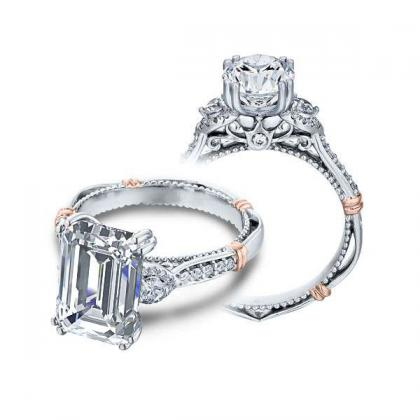 1.00ct. natural diamond emerald cut verragio parisian three stone pave designer  engagement ring 14k white gold gia