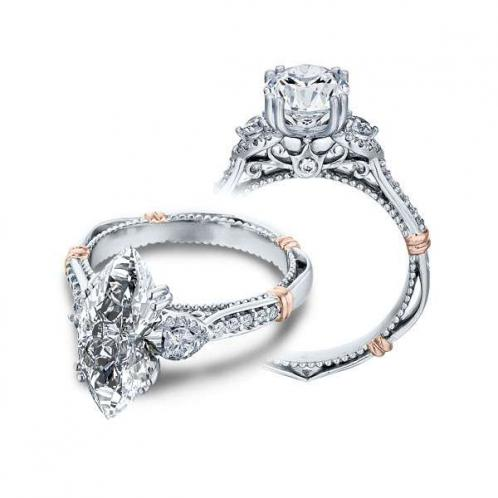 Verragio Parisian Three Stone Pave Designer Engagement Ring