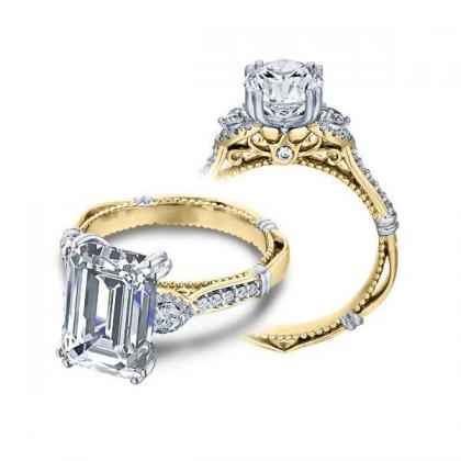 1.00ct. natural diamond emerald cut verragio parisian three stone pave  designer engagement ring 14k yellow gold gia