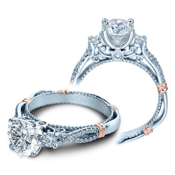 Verragio Parisian Pave Three Stone Infinity Designer Engagement Ring