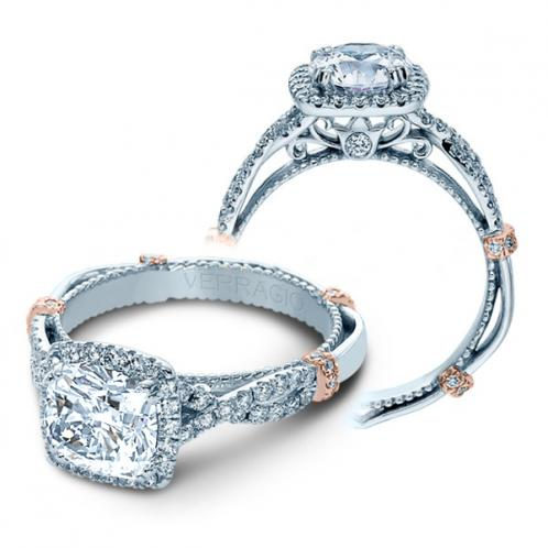 Verragio Parisian Split Shank Halo Infinity Designer Engagement Ring