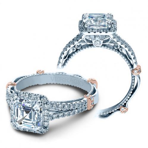 Verragio Parisian Split Shank Halo Pave Designer Engagement Ring