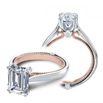 1.00ct. natural diamond emerald cut couture verragio solitaire designer  engagement ring 14k white gold gia