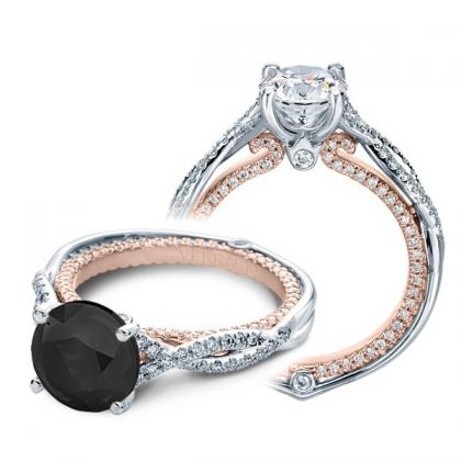 Two Tone Black Diamond Engagement Rings