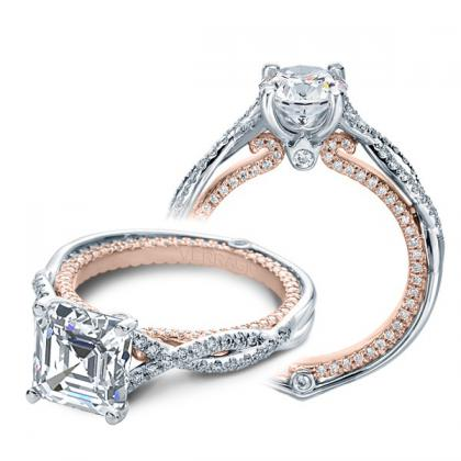 Milgrains Asscher cut Engagement Rings