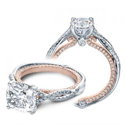 Milgrains Cushion cut Engagement Rings