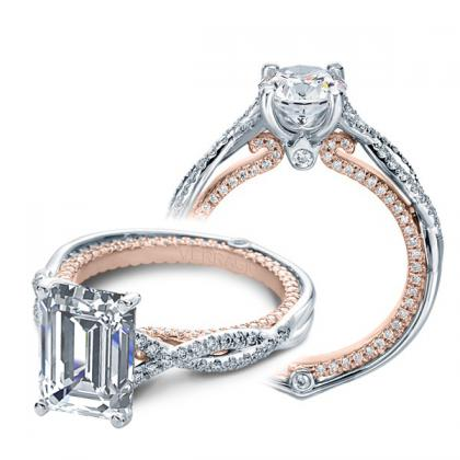 Milgrains Emerald cut Engagement Rings