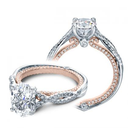 Two Tone Oval cut Engagement Rings