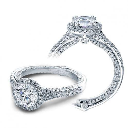 Verragio Halo Split Shank Couture Designer Engagement Ring